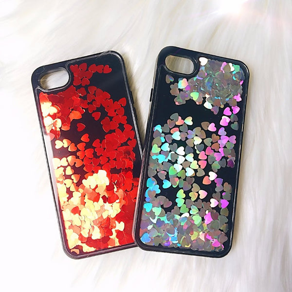 Glitter iPhone Case Red Hearts - Case&Co.