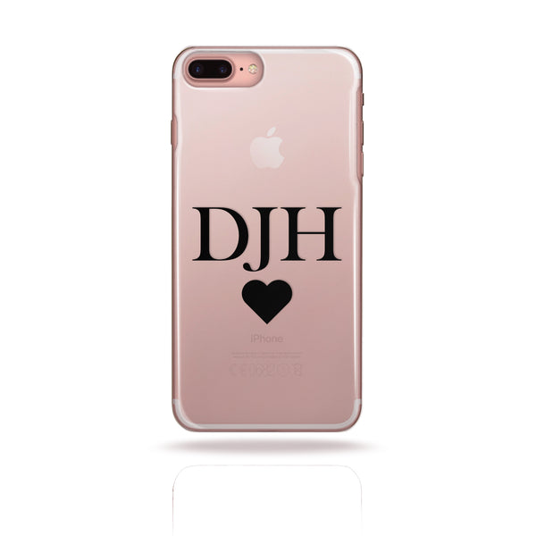 Personalised Initial Monogram Phone Case Black Heart - Case&Co.