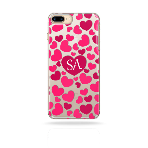 Personalised Monogram Initials Phone Case Pink Hearts - Case&Co.