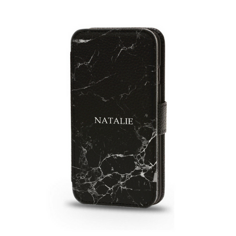 Personalised Flip Phone Cases Black Marble - Case&Co.