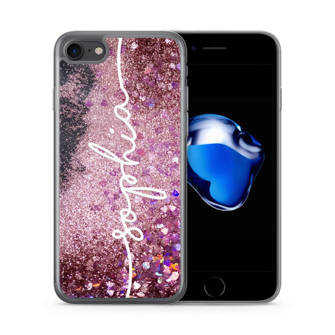 Personalised iPhone Case Pink Glitter Liquid White - Case&Co.