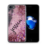 Personalised iPhone Case Pink Glitter Liquid Black - Case&Co.