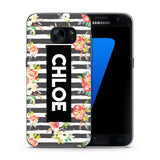 Personalised Phone Case Floral Name Black Stripe - Case&Co.