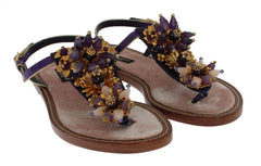 Dolce & Gabbana Purple Crocodile Crystal Sandals