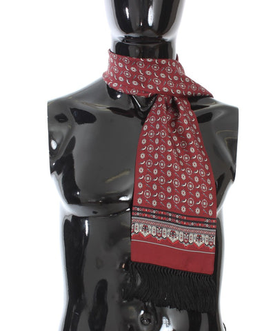 Bordeaux Silk Bird Pattern Scarf - Vivi's Posh Closet