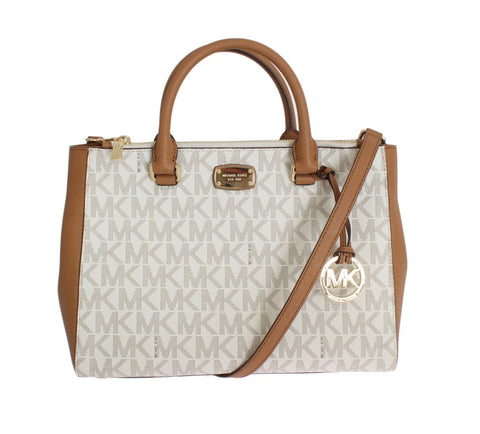 White KELLEN Leather Satchel Handbag - Vivi's Posh Closet