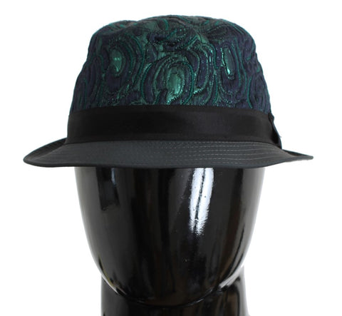 Green Blue Cotton Fedora Trilby Hat - Vivi's Posh Closet