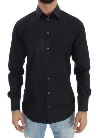 Black Cotton Slim GOLD Fit Shirt - Vivi's Posh Closet
