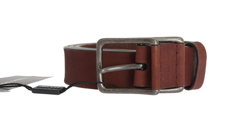 Brown Leather Logo Silver Buckle Belt - Vivi's Posh Closet