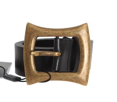 Black Leather Gold Buckle Belt - Vivi's Posh Closet