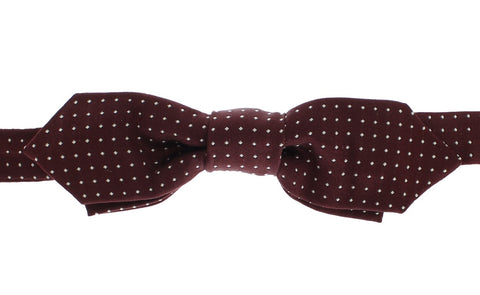 Bordeaux Polka Dot 100% Silk Neck Bow Tie - Vivi's Posh Closet