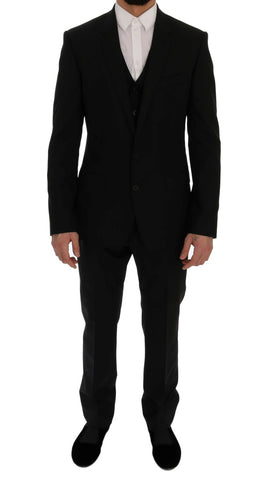 Black Wool Stretch MARTINI Slim Fit Suit - Vivi's Posh Closet