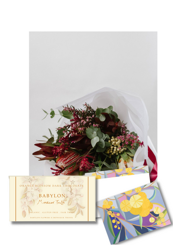 Flowers, Card and Chocolate Gift