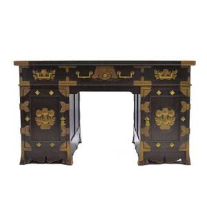 Antique Japanese Ebonised Oak Pedestal Desk