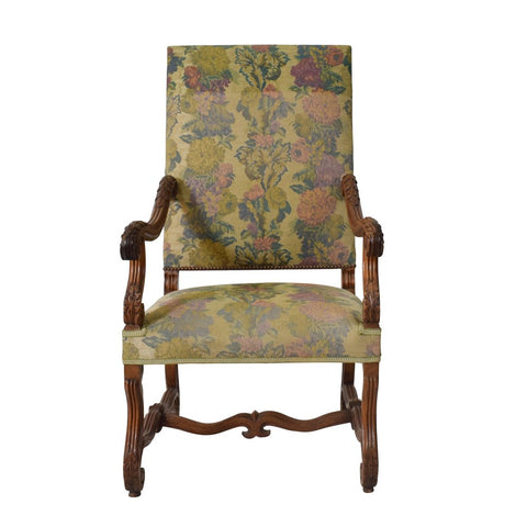 Antique Louis XIII Style Walnut Tapestry Armchair