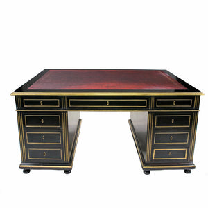 Louis XVI Style Ebonised Mahogany & Brass Partners Desk,