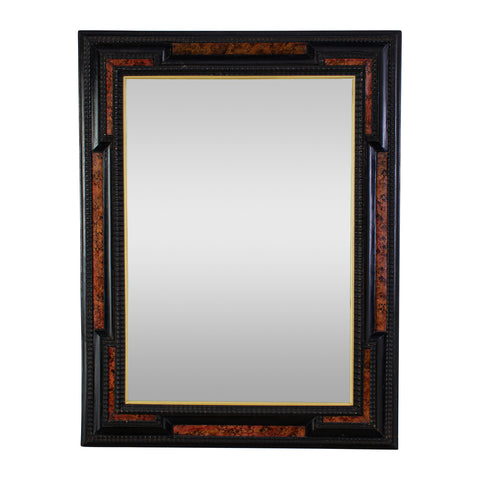 Dutch Ebonised Ripple Frame Mirror with Faux Tortoise Shell