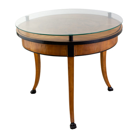 Biedermeier Style Circular Table With Glass Top