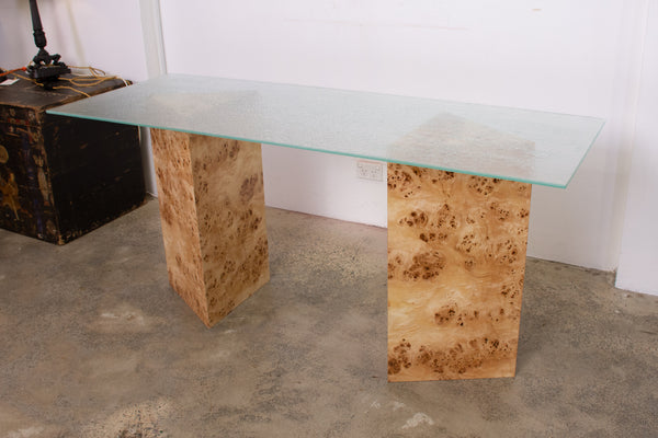 Triangular Burl Desk/Console with Mottled Glass Top