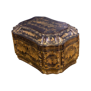19th Century Chinese Export Black and Gilt Lacquer Tea Caddy