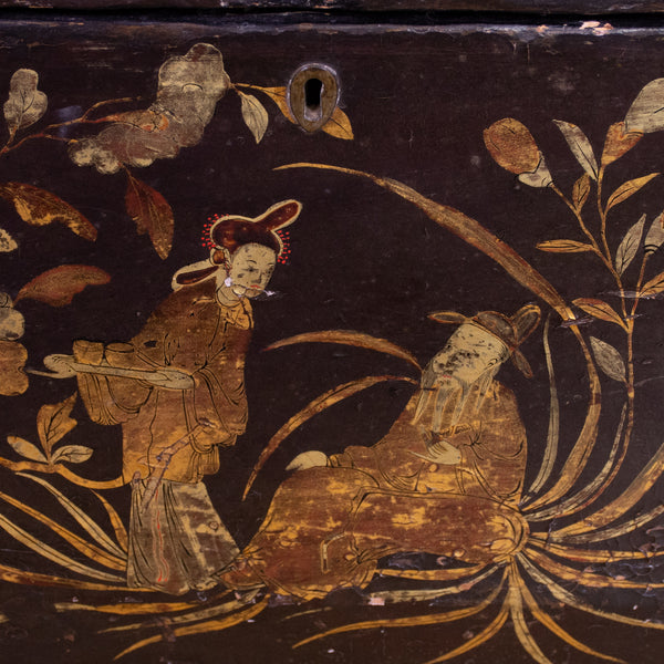A Black Lacquer Chinoiserie Box