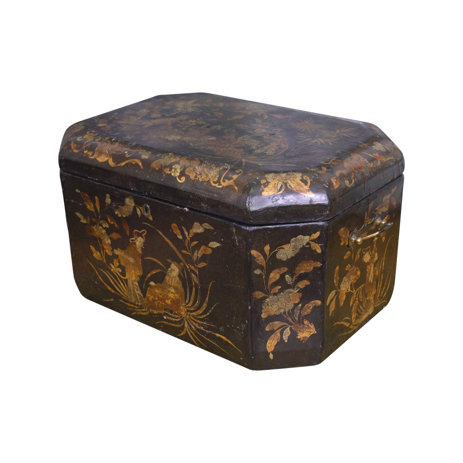 A Large Black Lacquer Chinoiserie Box