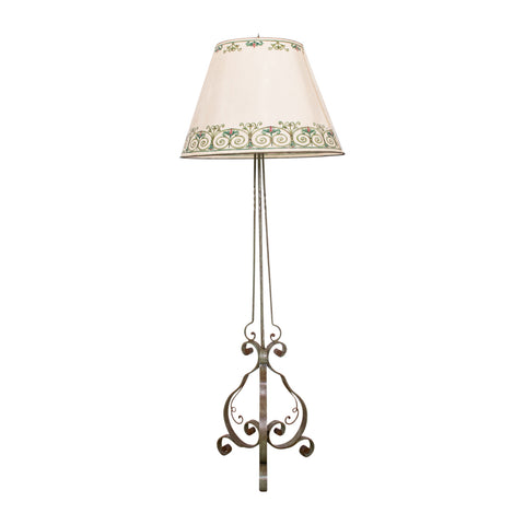 Art Deco Wrought Iron Standard Lamp with Hand Painted Shade