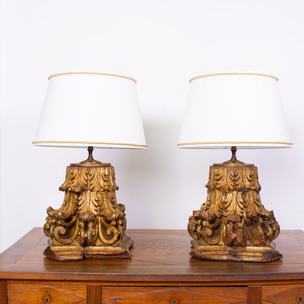 Pair of Antique Corinthian Capital Table Lamps