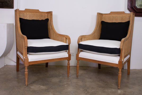 Pair of Caned and upholstered Armchairs