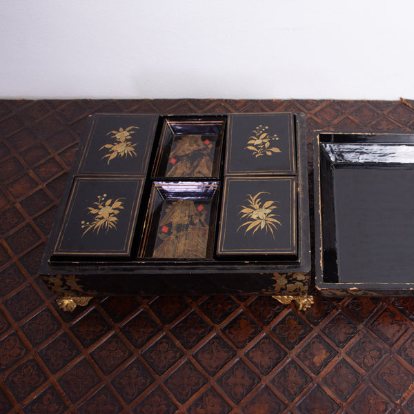 A 19th Century Chinese Export Lacquered Games Box