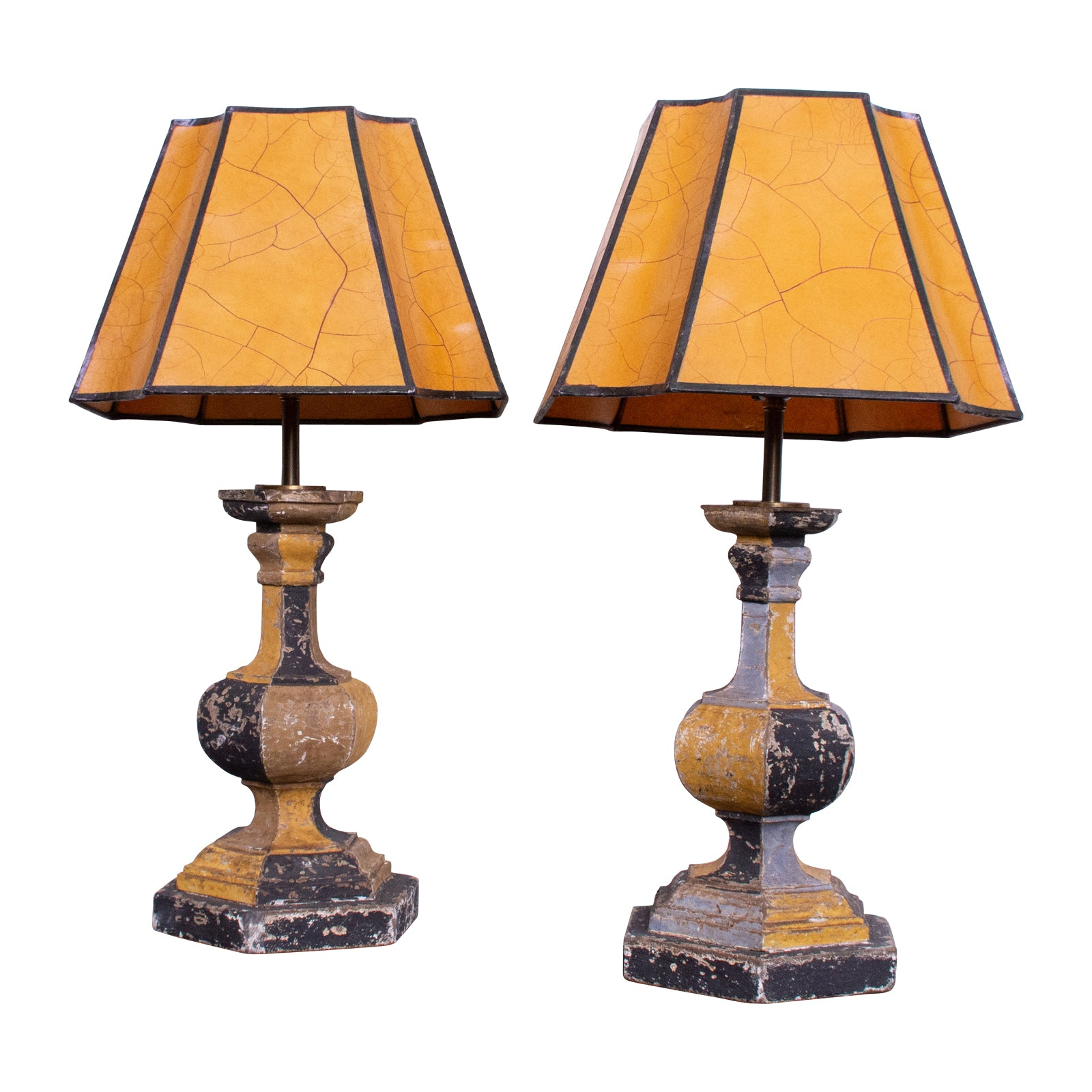 Pair of Squat Checkered Table Lamps