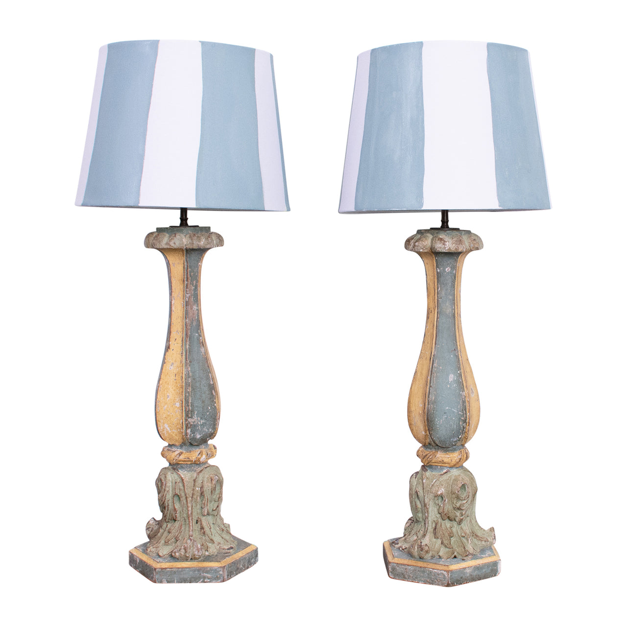 Pair of Striped Neo-Classical Lamps