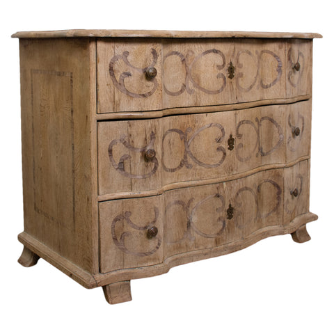18th Century Bleached Oak Serpentine Chest