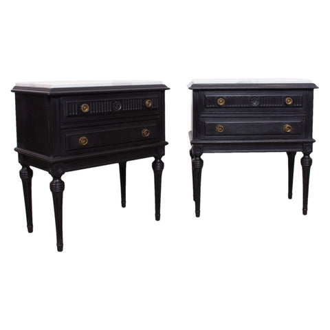 Pair of Louis XVI Style Ebonised Bedside Tables