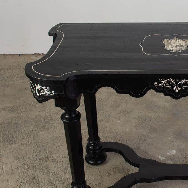 North Italian Ebonised and Ivory Inlaid Console Table