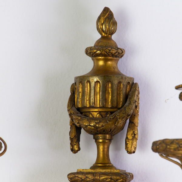 Pair of Louis XVI Sconces in Chiseled and Gilded Bronze