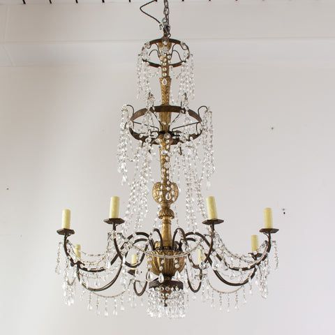 Pair of Antique Italian Giltwood Genovese Chandeliers