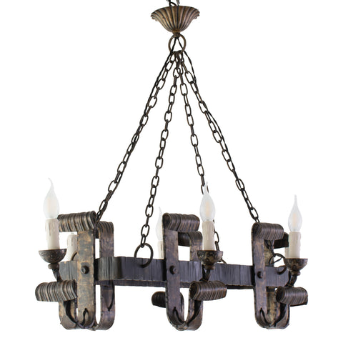 Hand Wrought Iron 6 Light Chandelier