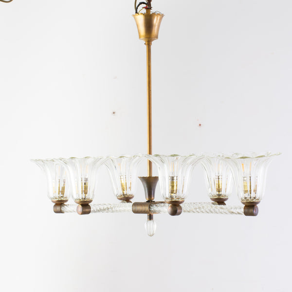 1930s Murano Chandelier with 6 Arms Light Probably by Ercole Barovier