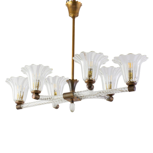Art Deco Murano Chandelier with 6 Arms Light Probably by Ercole Barovier