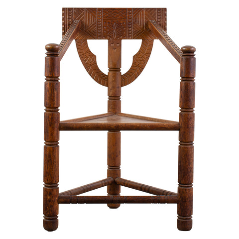 English Arts & Crafts Carved Oak Turners Chair