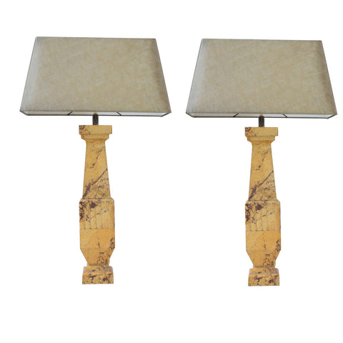 Pair of Italian Art Deco Style Scagliola Lamps