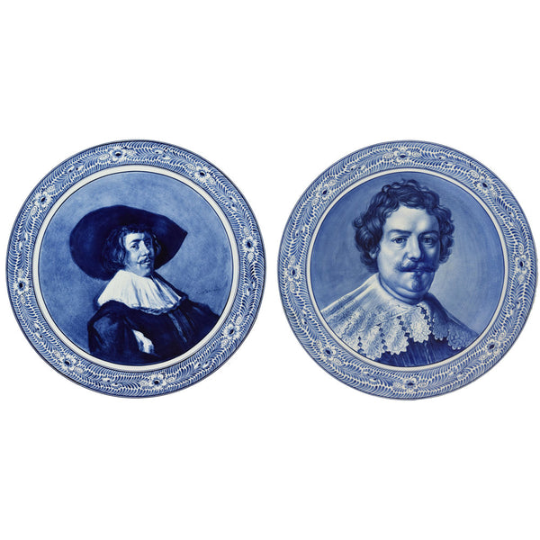 Pair of Antique Large  Royal Bonn Delft Portrait Chargers