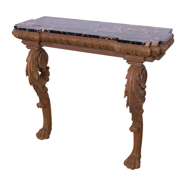 A Georgian Style Pine Console with Portoro Marble Top