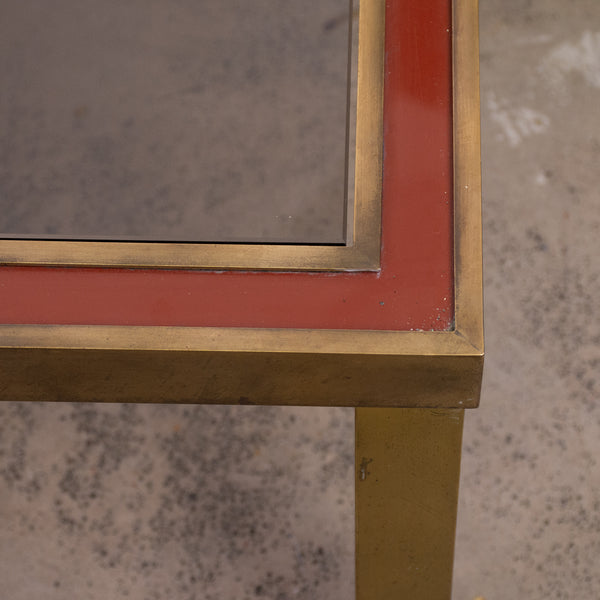 Mid Century Brass and Red Lacquer Coffee Table