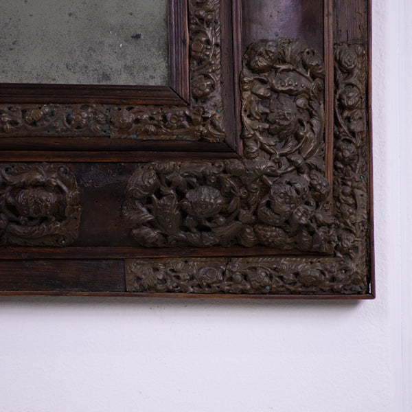 A 19th Century Flemish Brass Repousse Cushion Mirror