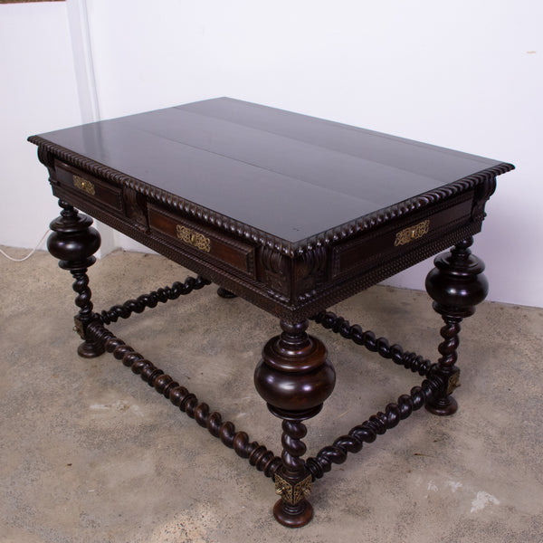 Antique Portuguese Baroque Style Rosewood Library Table