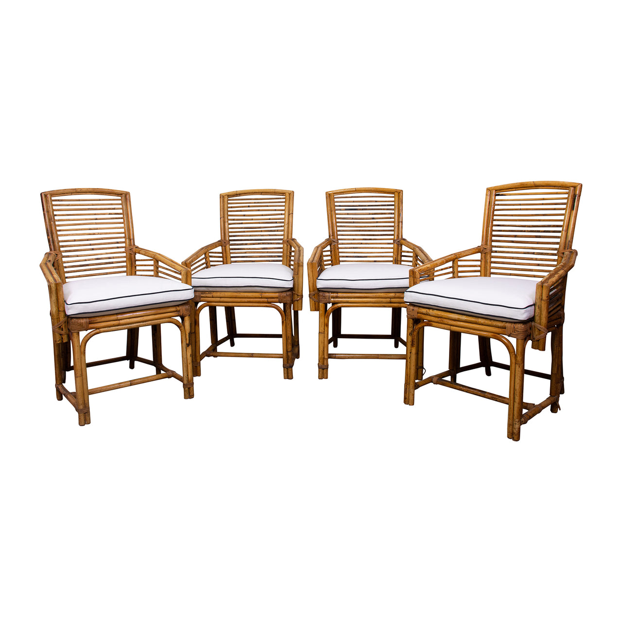 Set of Four 1960s Cane Armchairs