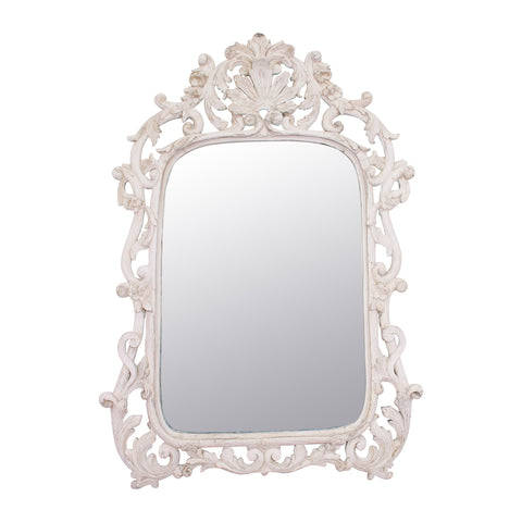 A 19th Century Louis XV Style White Gesso Mirror