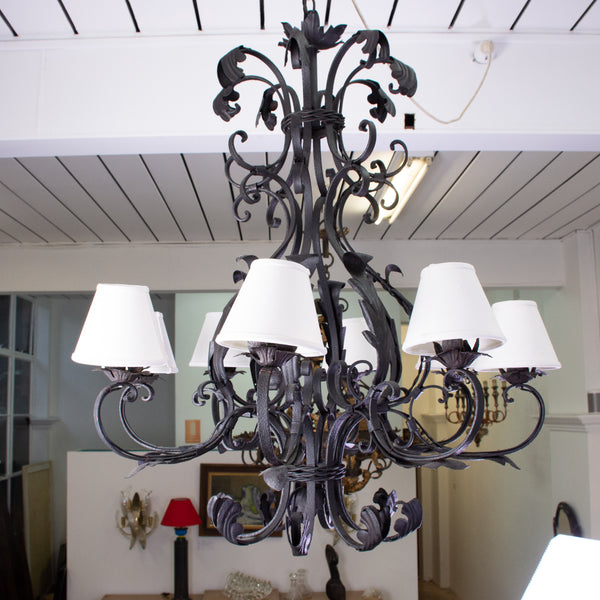 A Wrought Iron 8 Light Chandelier